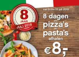 I Fratelli 8 jaar - pizza's en pasta's afhalen € 8,-